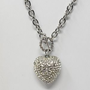 Crystal Pave Puffy Heart Pendant Necklace Toggle